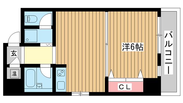 物件番号: 1025814857 三宮UEハウス  神戸市中央区下山手通3丁目 1DK マンション 間取り図