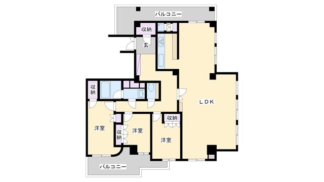 物件番号: 1025814926 アモン六甲  神戸市灘区五毛通4丁目 2LDK マンション 間取り図