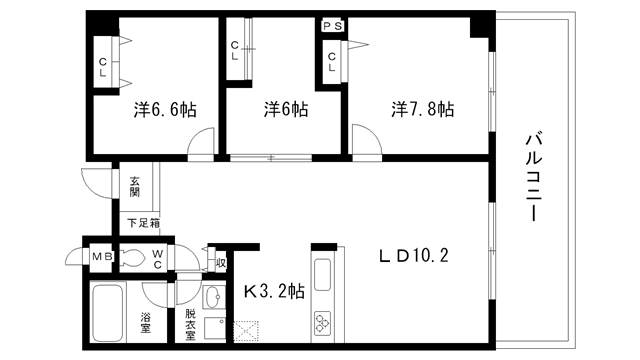 物件番号: 1025814928 ロイヤルヒル北野  神戸市中央区加納町2丁目 3LDK マンション 間取り図