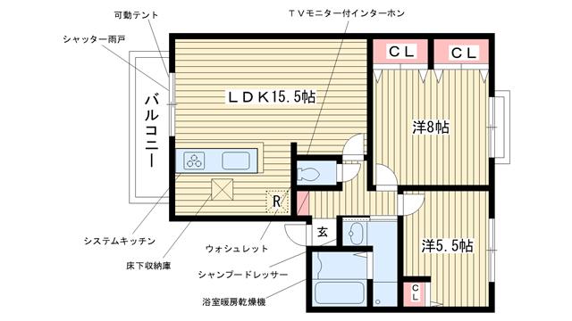 物件番号: 1025815067 フォレスト谷上  神戸市北区谷上南町 2LDK ハイツ 間取り図