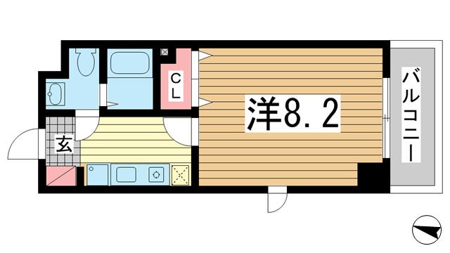 物件番号: 1025815156 カリエンテ三宮  神戸市中央区小野柄通3丁目 1K マンション 間取り図