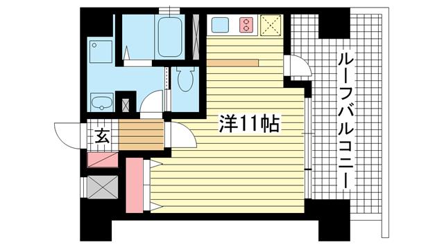 物件番号: 1025815162 パシフィックレジデンス神戸八幡通  神戸市中央区八幡通1丁目 1R マンション 間取り図