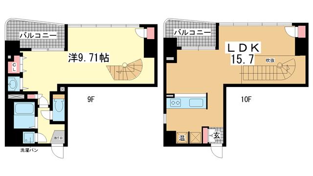 物件番号: 1025815197 NESTY FLAT  神戸市中央区二宮町1丁目 1LDK マンション 間取り図