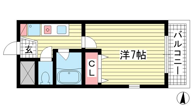 物件番号: 1025815391 ソルジェンテハンター坂   神戸市中央区中山手通1丁目 1K マンション 間取り図
