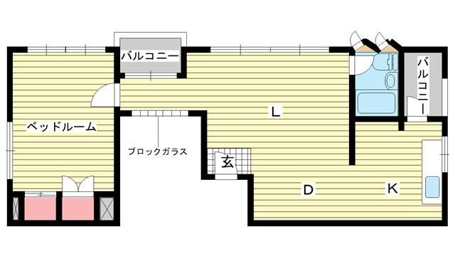 物件番号: 1025815702 第2スカイマンション  神戸市中央区北野町4丁目 1LDK マンション 間取り図