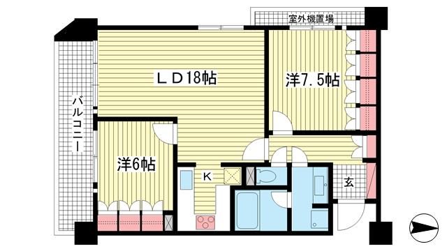 物件番号: 1025815733 リーガル神戸下山手  神戸市中央区下山手通3丁目 2LDK マンション 間取り図