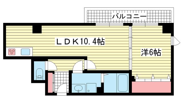 物件番号: 1025815979 PLAISANT新神戸  神戸市中央区二宮町4丁目 1LDK マンション 間取り図