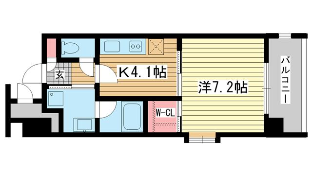 物件番号: 1025816023 ショーソン上沢  神戸市兵庫区上沢通3丁目 1K マンション 間取り図
