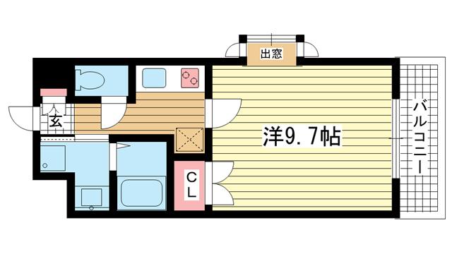 物件番号: 1025816036 ショーソン上沢  神戸市兵庫区上沢通3丁目 1K マンション 間取り図