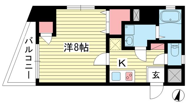 物件番号: 1025816097 コンフォール元町  神戸市中央区北長狭通4丁目 1K マンション 間取り図