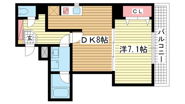 物件番号: 1025816228 BELLEZZA  神戸市中央区雲井通4丁目 1DK マンション 間取り図