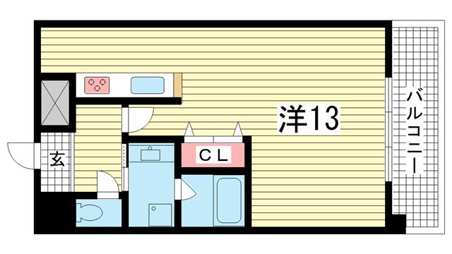物件番号: 1025816752 KDXレジデンス三宮  神戸市中央区二宮町4丁目 1R マンション 間取り図