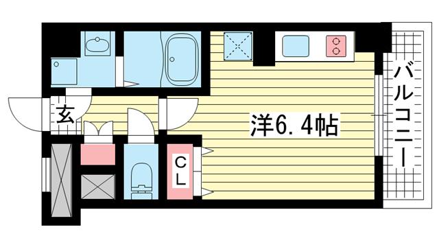 物件番号: 1025816927 パシフィックレジデンス神戸八幡通  神戸市中央区八幡通1丁目 1R マンション 間取り図