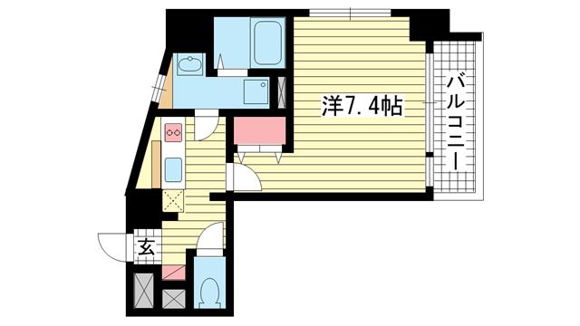 物件番号: 1025816946 パシフィックレジデンス神戸八幡通  神戸市中央区八幡通1丁目 1R マンション 間取り図