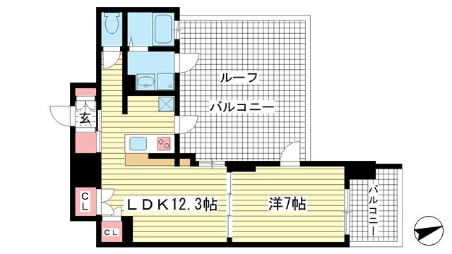 物件番号: 1025817341 アルファレガロ神戸ウエスト  神戸市兵庫区塚本通3丁目 1LDK マンション 間取り図