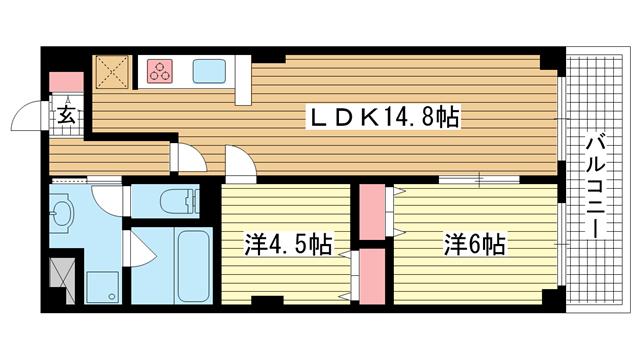 物件番号: 1025817635 グランドビスタ北野  神戸市中央区加納町2丁目 2LDK マンション 間取り図
