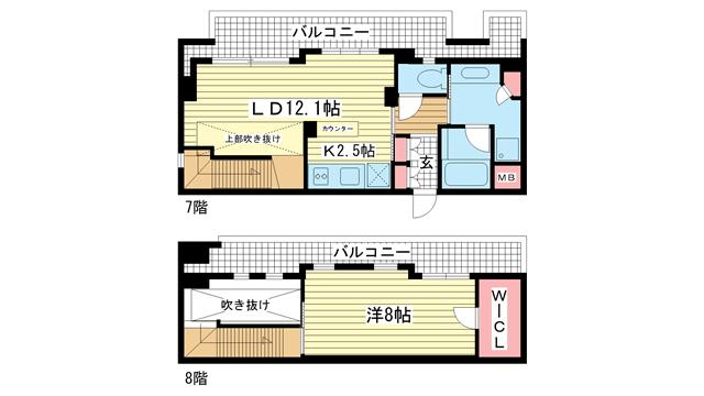 物件番号: 1025817641 ラ・ウェゾン神戸海岸通  神戸市中央区海岸通5丁目 1LDK マンション 間取り図