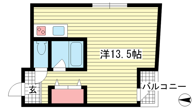 物件番号: 1025817781 グランディア 花隈ガーデン  神戸市中央区花隈町 1R マンション 間取り図