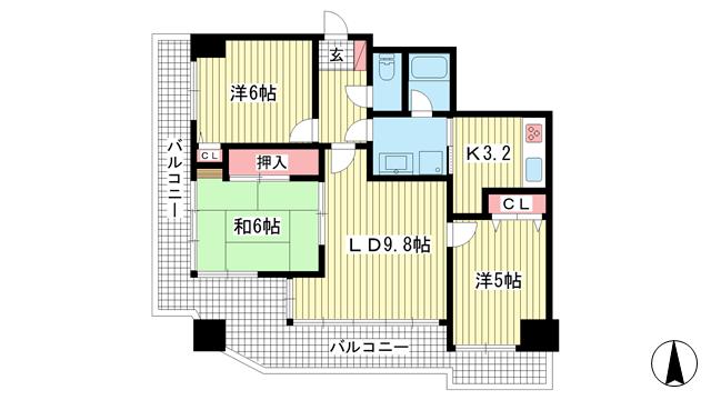 物件番号: 1025818108 サンビルダー北野弐番館  神戸市中央区加納町2丁目 3LDK マンション 間取り図