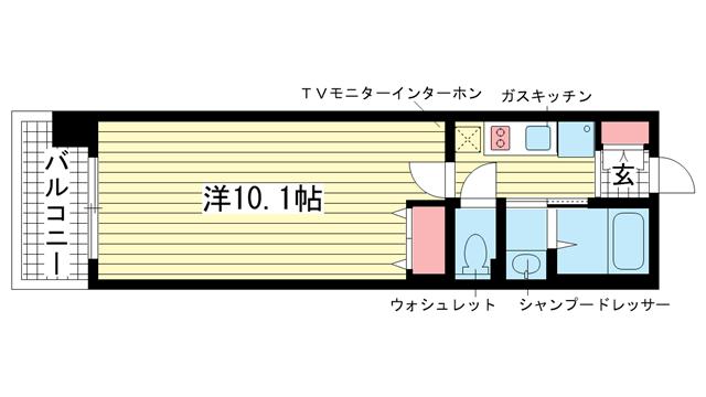物件番号: 1025818201 レジディア三宮東  神戸市中央区磯上通3丁目 1K マンション 間取り図