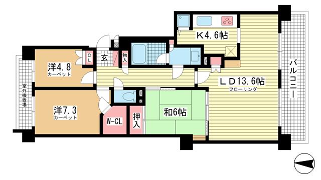 物件番号: 1025818327 パーク・ハイム神戸熊内町  神戸市中央区熊内町5丁目 3LDK マンション 間取り図