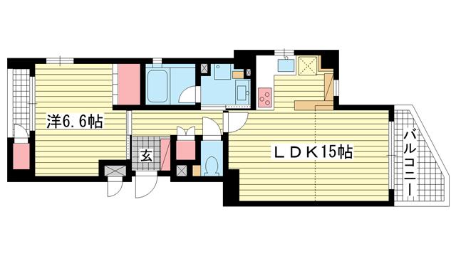 物件番号: 1025818622 PREDIO SEICOHⅡ  神戸市中央区中山手通2丁目 1LDK マンション 間取り図