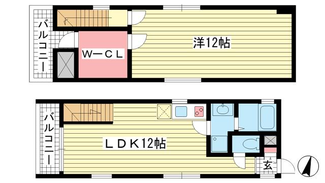 物件番号: 1025818650 メゾンメルベーユ  神戸市中央区中山手通2丁目 1LDK マンション 間取り図
