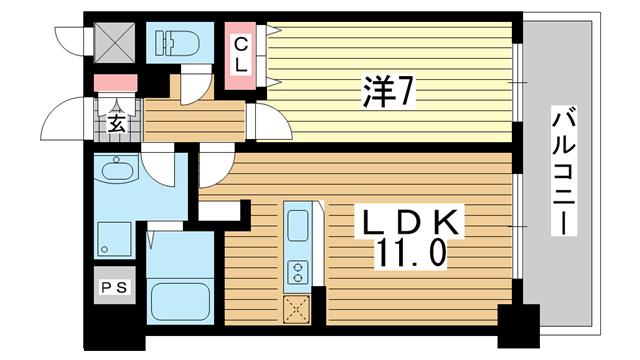 物件番号: 1025818692 インボイス新神戸レジデンス  神戸市中央区生田町3丁目 1LDK マンション 間取り図