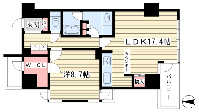 物件番号: 1025818728 ルネ神戸旧居留地109番館  神戸市中央区伊藤町 1LDK マンション 間取り図