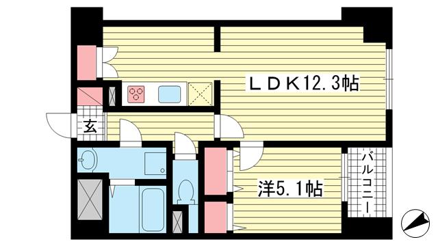 物件番号: 1025818774 カサベラ異人館山本通  神戸市中央区山本通2丁目 1LDK マンション 間取り図