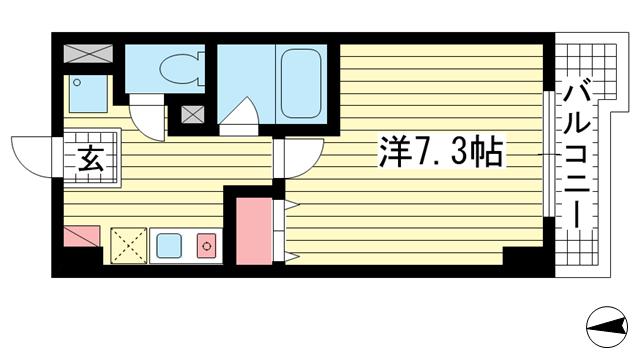 物件番号: 1025818886 アルパ三宮  神戸市中央区琴ノ緒町1丁目 1K マンション 間取り図