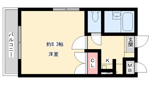 物件番号: 1025818933 プレジオ春日野道  神戸市中央区大日通5丁目 1K マンション 間取り図