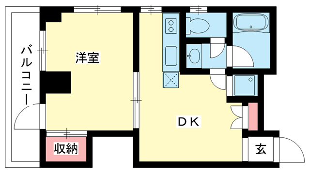 物件番号: 1025818982 春日雅ハイツ  神戸市中央区八雲通1丁目 1DK マンション 間取り図