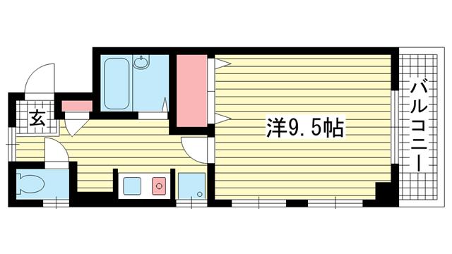 物件番号: 1025818986 サンハイツ雅  神戸市中央区八雲通1丁目 1K マンション 間取り図