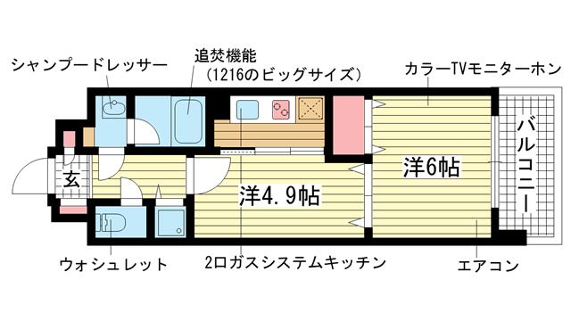 物件番号: 1025819113 M'sレジデンス神戸  神戸市兵庫区中道通1丁目 2K マンション 間取り図