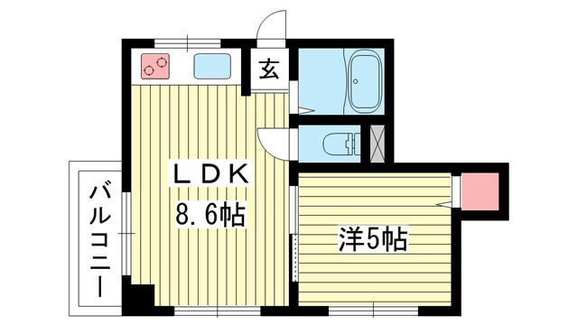 物件番号: 1025819127 サンビルダー三宮東  神戸市中央区国香通6丁目 1LDK マンション 間取り図