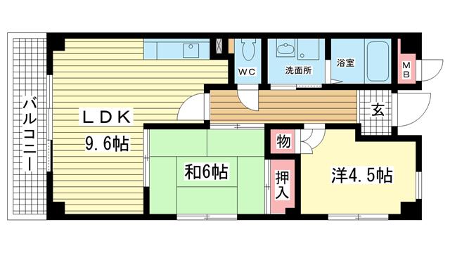 物件番号: 1025819545 フロール中山手  神戸市中央区中山手通7丁目 2LDK マンション 間取り図