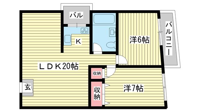 物件番号: 1025819702 第2スカイマンション  神戸市中央区北野町4丁目 2LDK マンション 間取り図