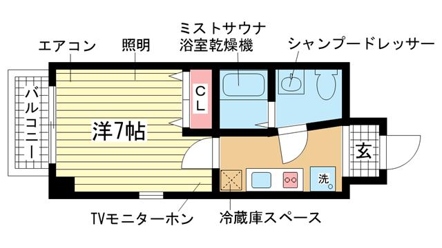 物件番号: 1025820047 ラピッド元町  神戸市中央区元町通5丁目 1K マンション 間取り図