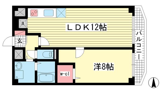 物件番号: 1025820062 ヴィラ神戸7  神戸市中央区加納町3丁目 1LDK マンション 間取り図