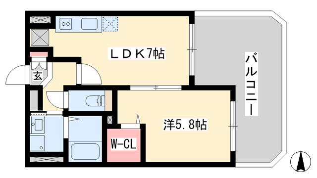 物件番号: 1025820063 ヴィラ神戸7  神戸市中央区加納町3丁目 1LDK マンション 間取り図