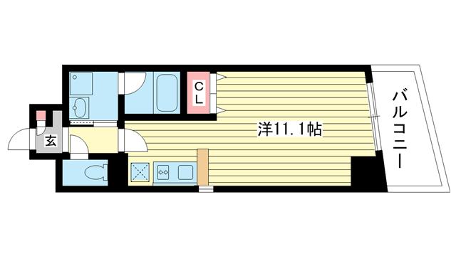 物件番号: 1025820294 メゾンアイリス  神戸市中央区下山手通6丁目 1R マンション 間取り図