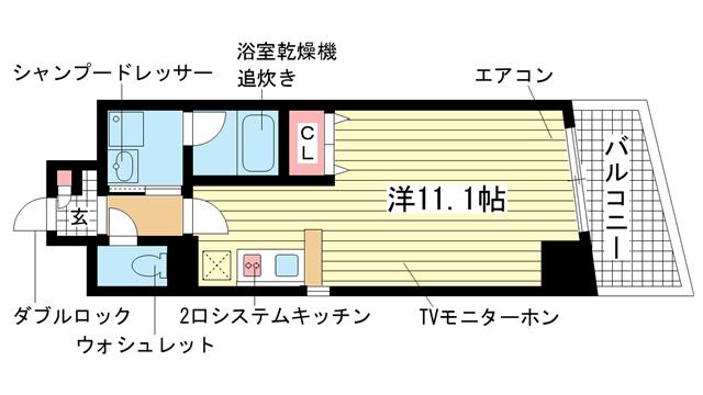 物件番号: 1025820297 メゾンアイリス  神戸市中央区下山手通6丁目 1R マンション 間取り図