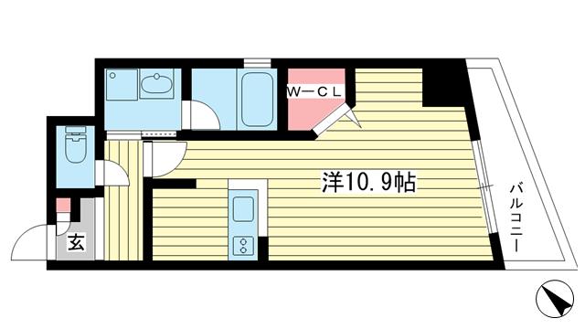 物件番号: 1025820309 メゾンアイリス  神戸市中央区下山手通6丁目 1K マンション 間取り図