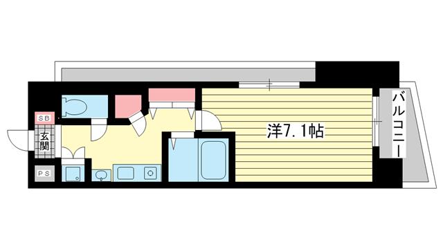 物件番号: 1025820367 アスヴェルみなと元町Ocean Front  神戸市中央区元町通5丁目 1K マンション 間取り図