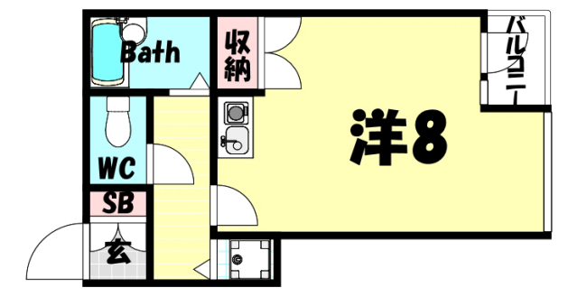 物件番号: 1025820370 アルカディア三宮  神戸市中央区小野柄通3丁目 1R マンション 間取り図