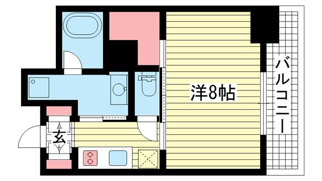 物件番号: 1025820506 レジディア神戸元町  神戸市中央区栄町通4丁目 1K マンション 間取り図