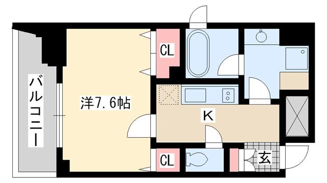 物件番号: 1025820524 レジディア神戸元町  神戸市中央区栄町通4丁目 1K マンション 間取り図