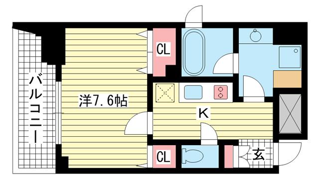 物件番号: 1025820531 レジディア神戸元町  神戸市中央区栄町通4丁目 1K マンション 間取り図