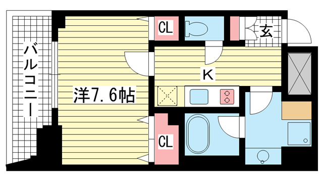 物件番号: 1025820570 レジディア神戸元町  神戸市中央区栄町通4丁目 1K マンション 間取り図